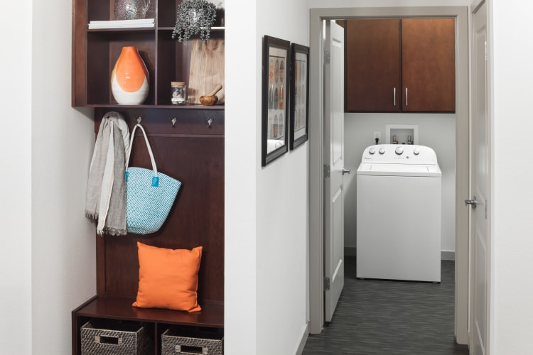 In-unit washer and dryer in a model home at Regatta Sloan's Lake in Denver, Colorado
