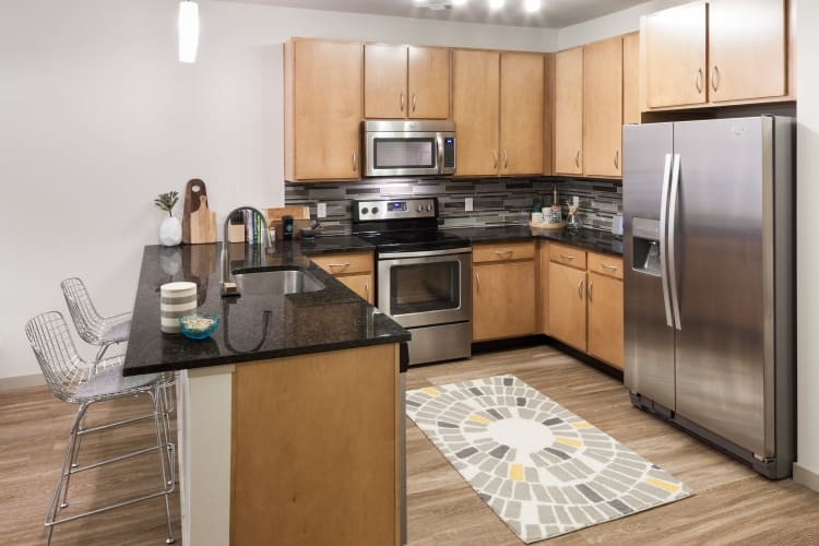 Modern kitchen with stainless-steel appliances and hardwood-style flooring in a model home at Regatta Sloan's Lake in Denver, Colorado