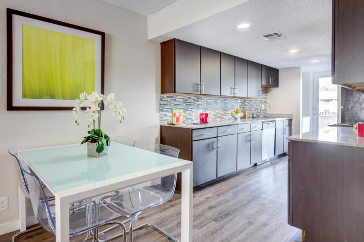 Large kitchen with stainless-steel appliances at Array Apartments in Austin, Texas
