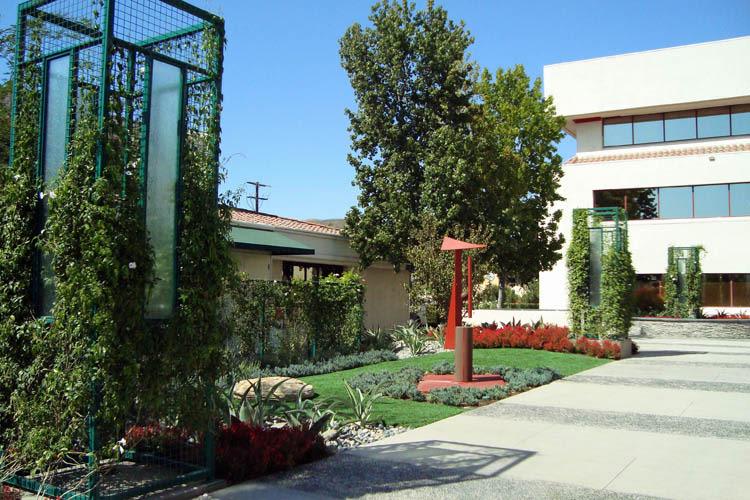 Courtyard trellises at Calabasas Square in Calabasas, California