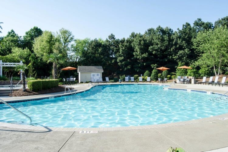 Sparkling swimming pool at Lullwater at Saluda Pointe in Lexington, South Carolina