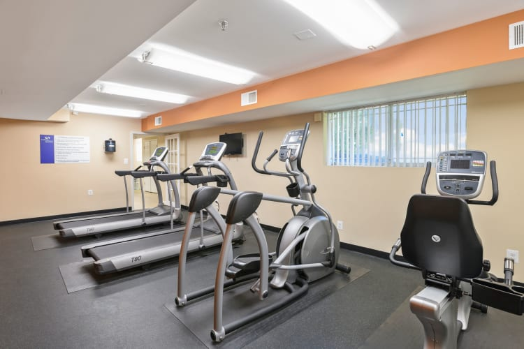 Fitness center with treadmills at Capital Crossing in Suitland, Maryland