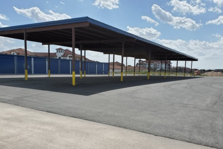 Covered RV storage at Advantage 52nd Odessa in Odessa, Texas