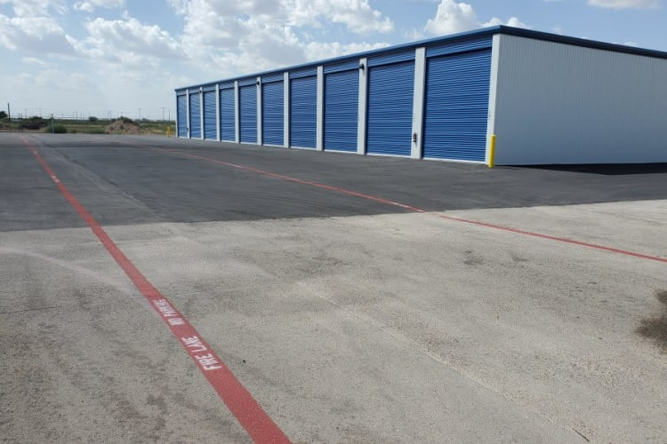 Covered and secure RV and boat storage units at Advantage 52nd Odessa in Odessa, Texas