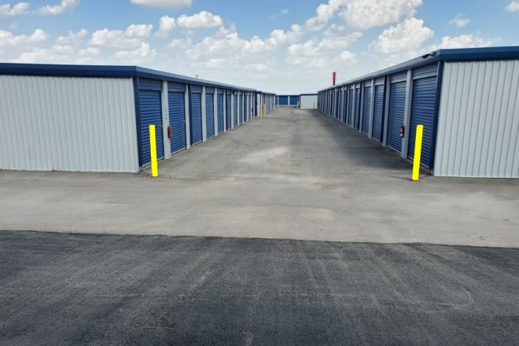 We have wide aisles between all of our exterior storage units at Advantage 52nd Odessa in Odessa, Texas