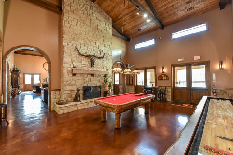 A large game room at Overlook Ranch in Fort Worth, Texas