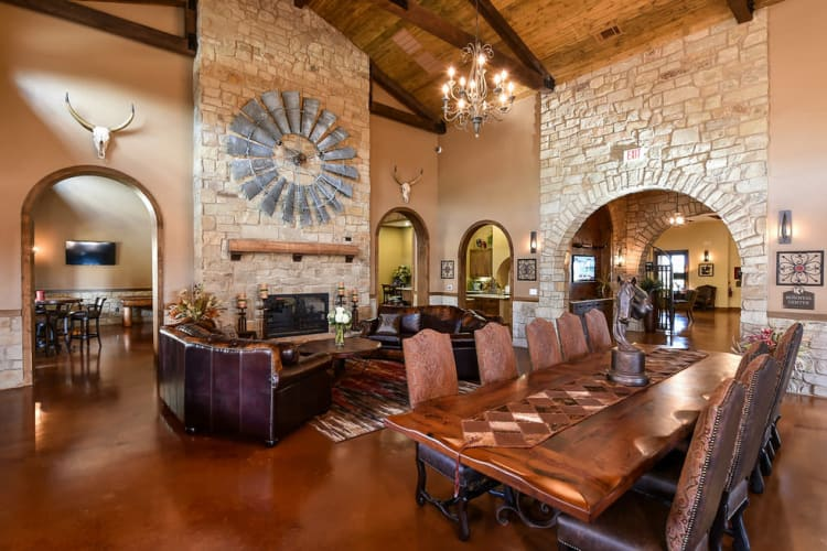 A large banquet room in the clubhouse at Overlook Ranch in Fort Worth, Texas