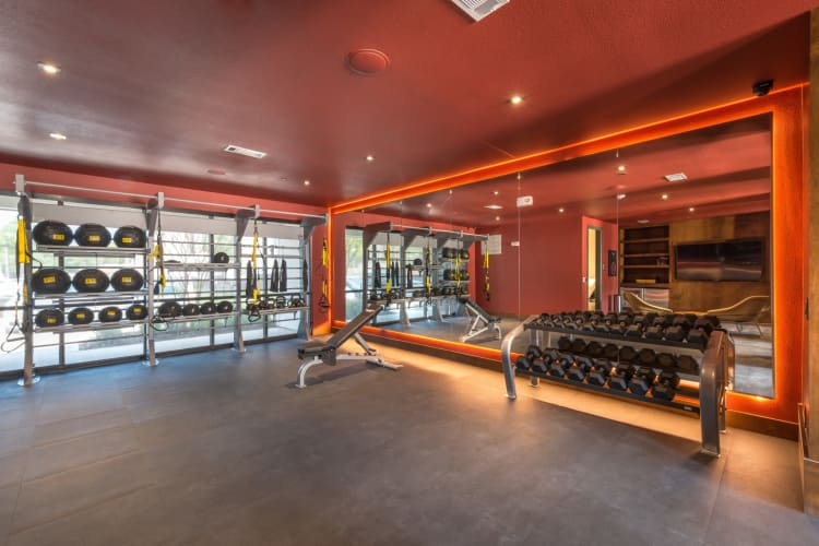 Massive gym where residents can workout in at Mercantile River District in Fort Worth, Texas
