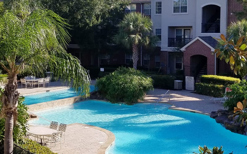 Beautiful poolside area at Trails at Eldridge Parkway in Jersey Village
