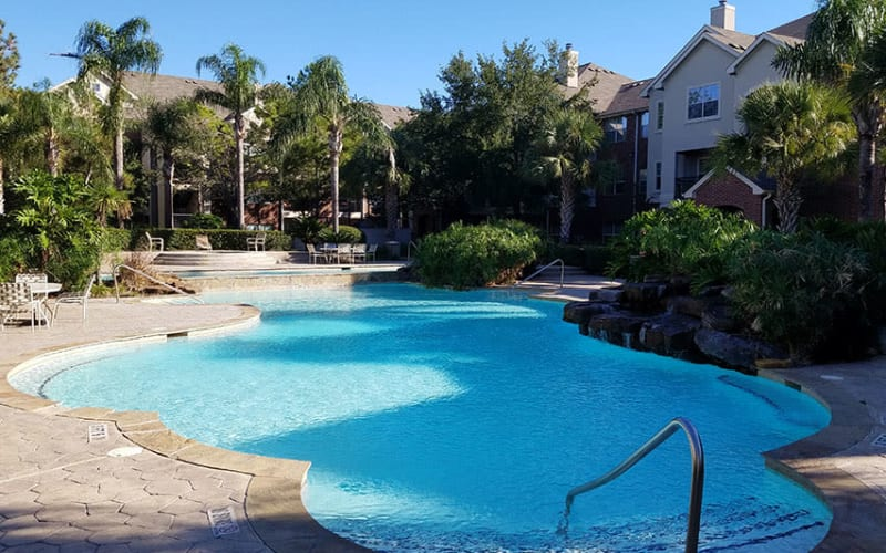 Resort style pool at Trails at Eldridge Parkway in Jersey Village