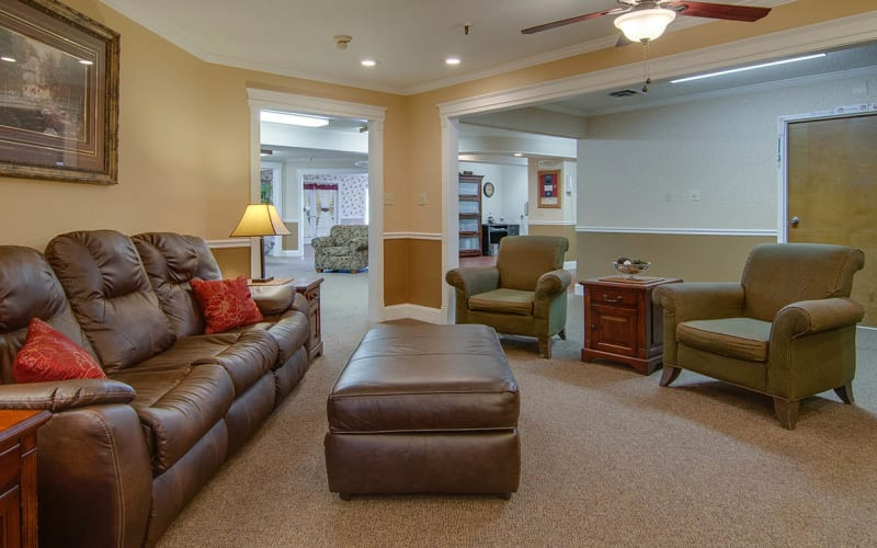 The community lounge at Osage Nursing Center in Osage City, Kansas