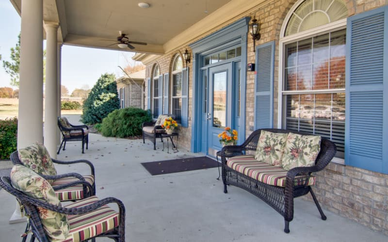 Front porch with chairs at Greenbrier Meadows in Martin, Tennessee