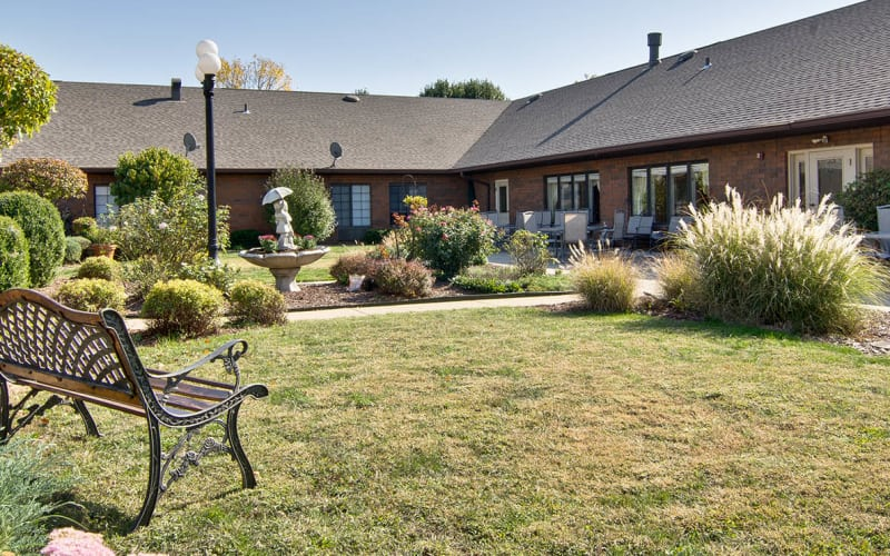 Outdoor patio with seating at Spencer Place in Saint Peters, Missouri