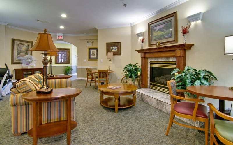 Fireside seating at Ashland Villa in Ashland, Missouri