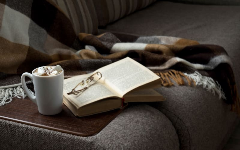 Cozy seating with a hot beverage and a book at NorthCliff in Lexington, Tennessee