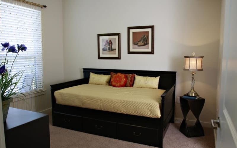 Comfy bed at The Marquis Apartment Homes in New Orleans, Louisiana