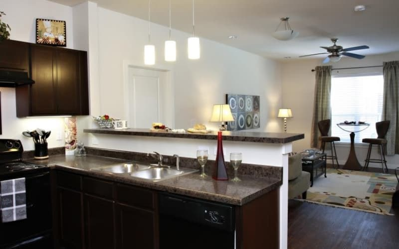 Beautiful kitchen and living room view at The Marquis Apartment Homes in New Orleans, Louisiana