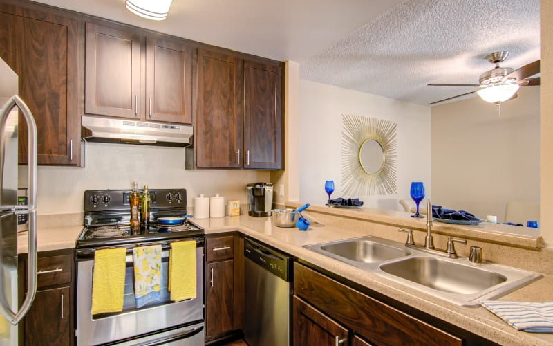A renovated kitchen with espresso cabinetry at Lakeview Village Apartments in Spring Valley, California