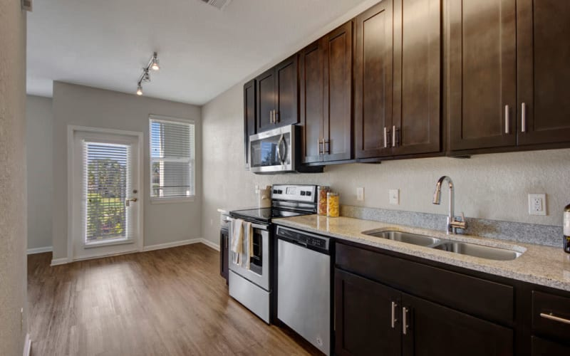 Bright kitchen at Linden on the GreeneWay in Orlando, Florida