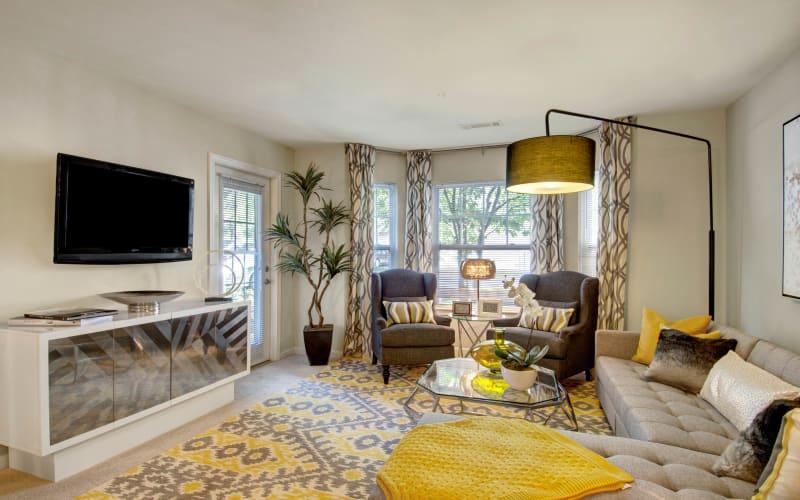 Bright living room at Ellington Metro West in Westborough, Massachusetts