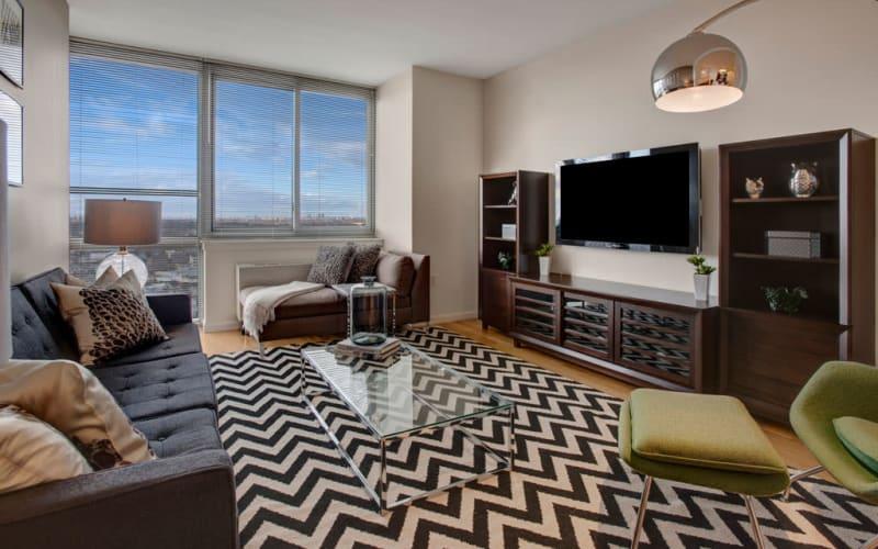 Bright living room at Skyline New Rochelle in New Rochelle, New York