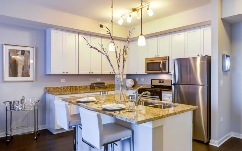 Bright kitchen at Northgate Crossing in Wheeling, Illinois