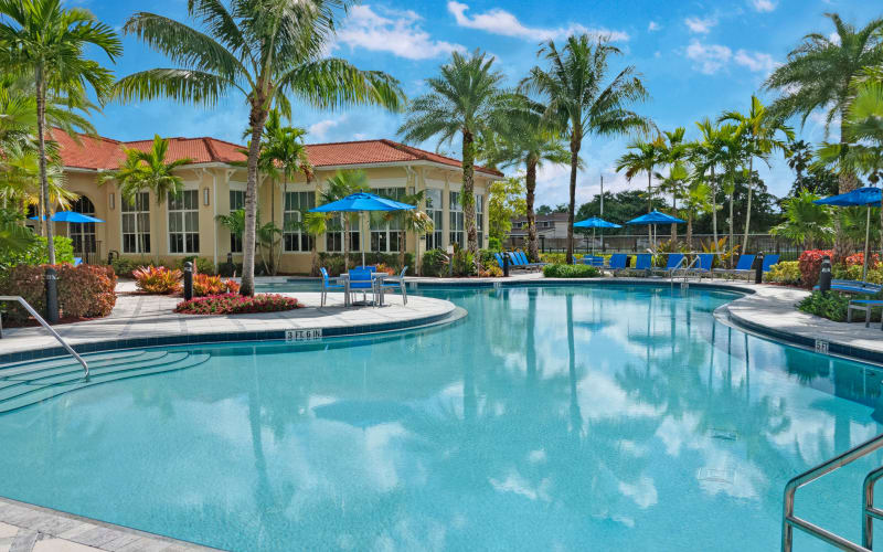 Resort-style swimming pool at City Center on 7th Apartment Homes in Pembroke Pines, Florida