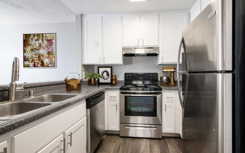 Enjoy a fully renovated kitchen with white cabinets at Lakeview Village Apartments in Spring Valley, California