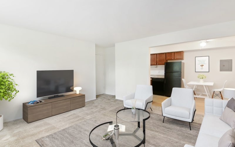 Spacious living room at Riverstone Apartments in Bolingbrook, Illinois