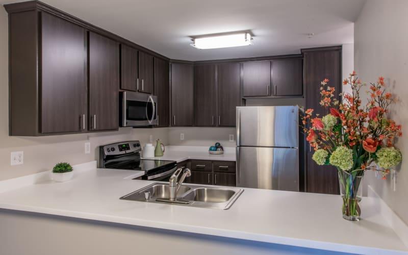 Spacious and bright kitchen at Brookside Village in Auburn, Washington