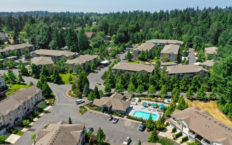 An aerial view of the property and surrounding area at Brookside Village in Auburn, Washington