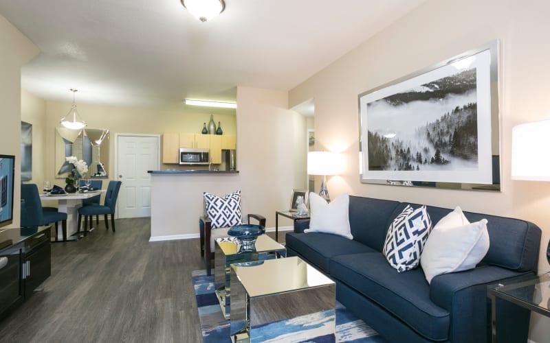 An apartment living room at Crestone Apartments in Aurora, Colorado