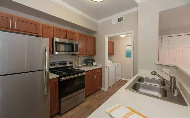 Renovated kitchen at Avion Apartments in Rancho Cordova, California