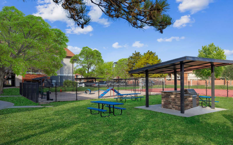 Covered BBQ, Picnic Area, and Dog Park at Shadowbrook Apartments in West Valley City, Utah
