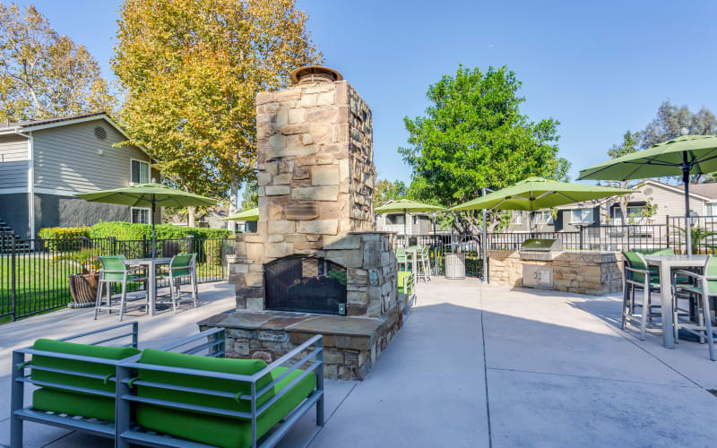 Outdoor fire pit area at Village Oaks in Chino Hills, California