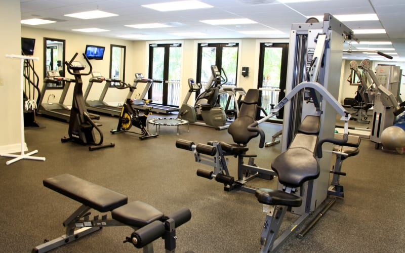 Fully equipped fitness center at The Heritage at Boca Raton in Boca Raton, Florida