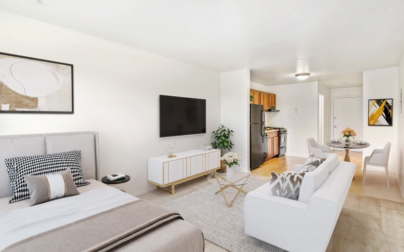 Studio living room at Riverstone Apartments in Bolingbrook, Illinois