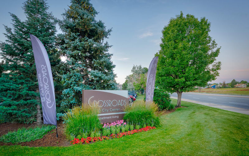 Monument Sign of Crossroads at City Center Apartments in Aurora, Colorado