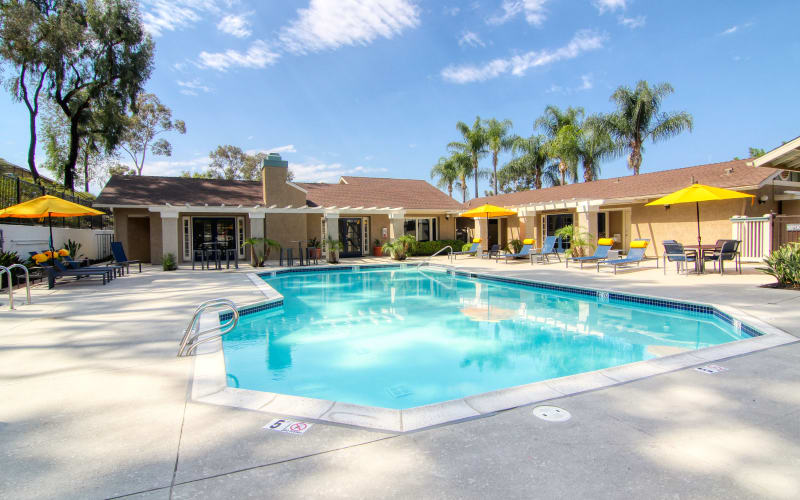 The beautiful swimming pool at sunset at Lakeview Village Apartments in Spring Valley, California
