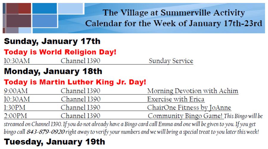 Sample activity calendar at The Village at Summerville