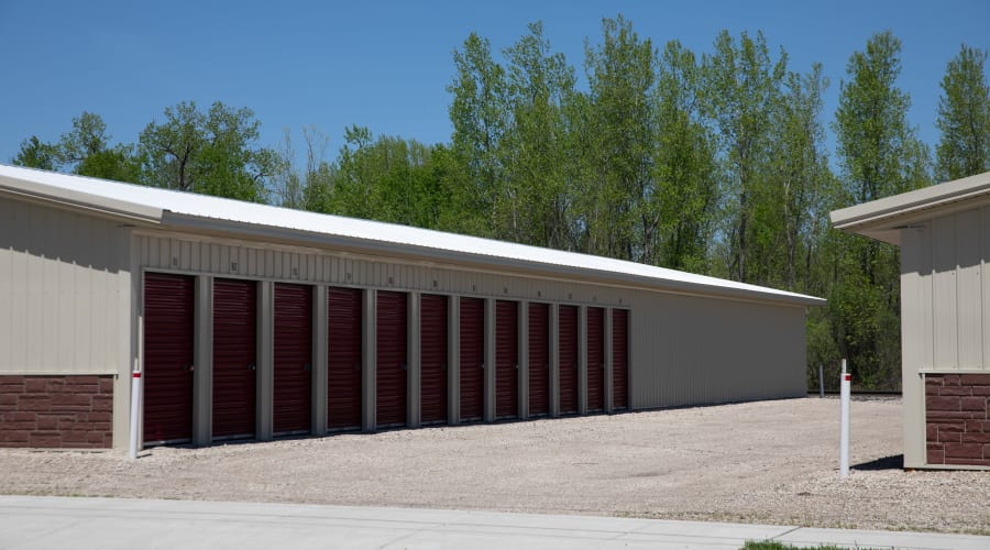 Rows of storage units with brown doors at KO Storage of Tomah - Washington in Tomah, Wisconsin