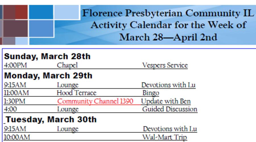 Sample activity calendar at The Florence Presbyterian Community