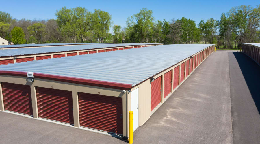 Aerial view of a storage building with red doors at KO Storage of Portage - East in Portage, Wisconsin