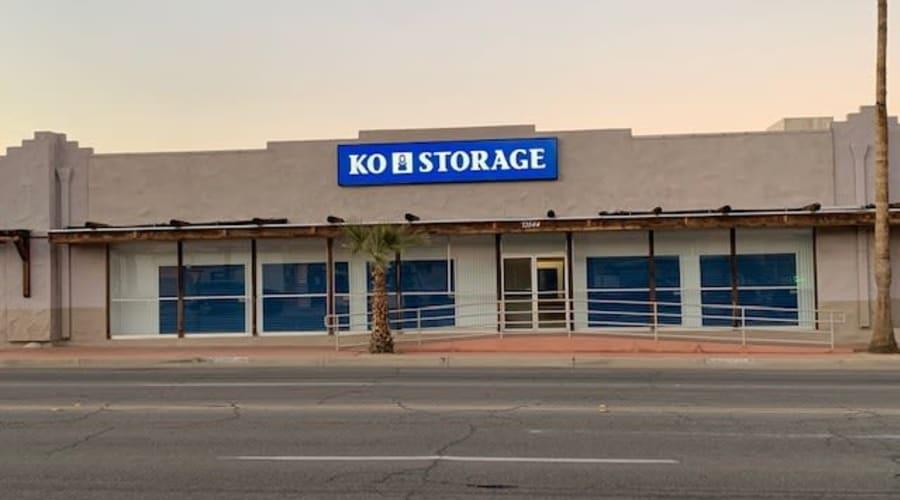 The entry to KO Storage of 29 Palms in Twentynine Palms, California