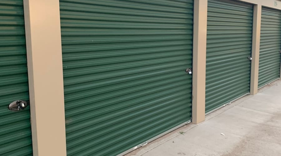 The exterior storage units at KO Storage of Casper Central in Casper, Wyoming
