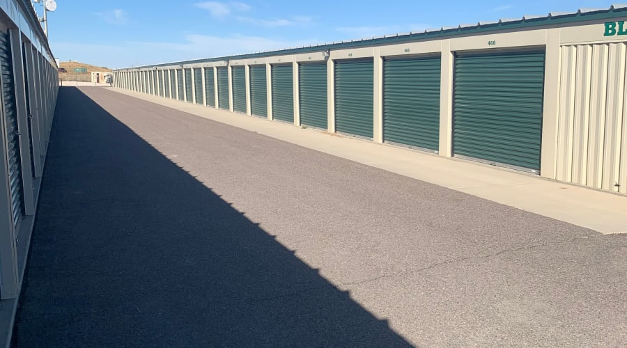 The drive up storage units at KO Storage of Casper East in Evansville, Wyoming