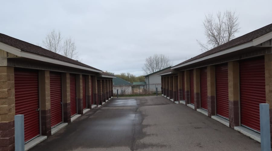 The drive up storage units at KO Storage of Hastings in Hastings, Minnesota