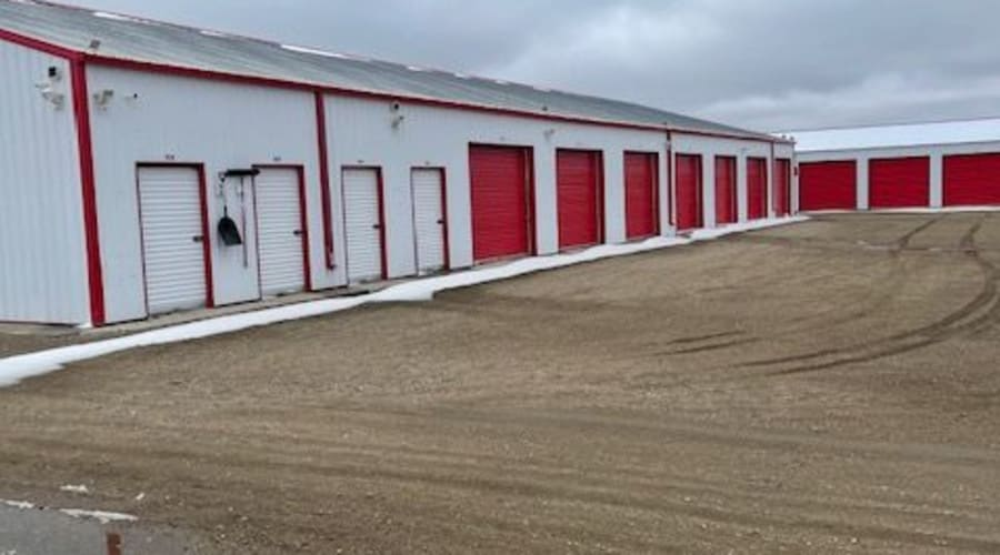 The drive up storage units at KO Storage of Jamestown - North in Jamestown, North Dakota