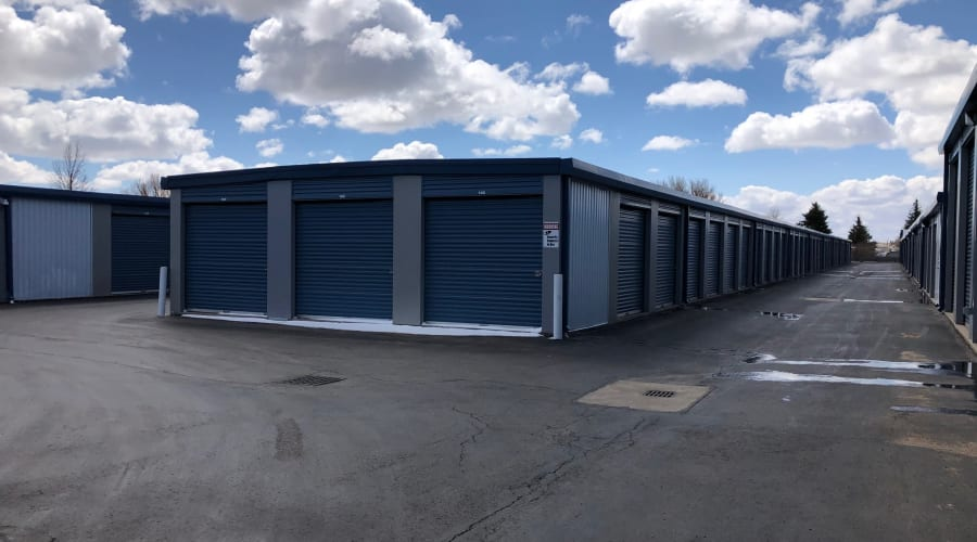 The drive up storage units at KO Storage of Cheyenne in Cheyenne, Wyoming