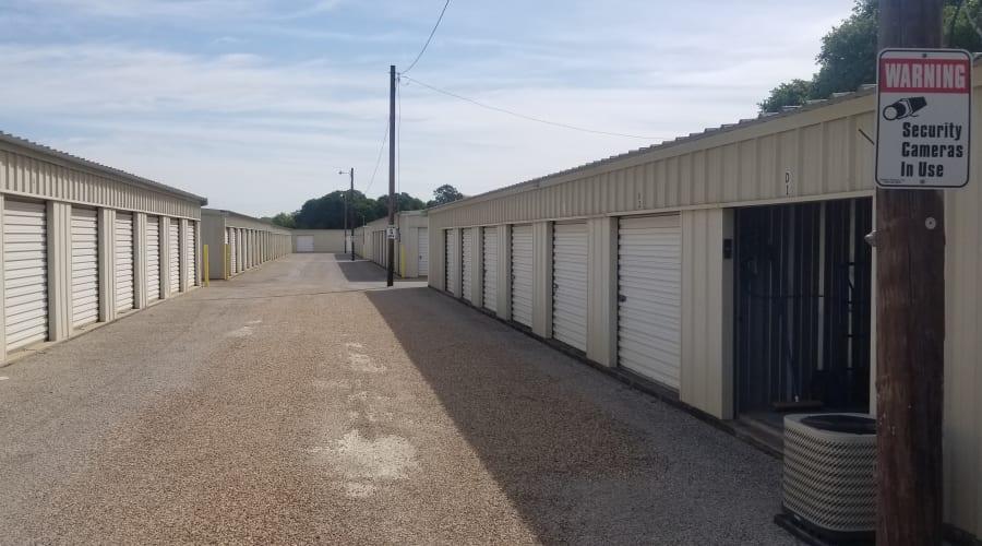 The secure, drive up storage units at KO Storage of Granbury in Granbury, Texas